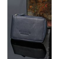 Teakwood Men Blue Solid Leather Card Holder