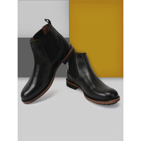 Teakwood Men Black Solid Genuine Leather Mid Top Boots