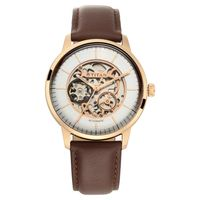 Titan Automatic Watch With Silver White Dial & Brown Strap