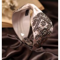 Bellofox White Colored Embellished Juni Luxe Headband In French Crepe Silk Blend