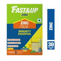 Fast&Up Zinc + Tulsi Extract For Daily Immunity & Well Being Lime & Lemon 30 Effervescent Tablets