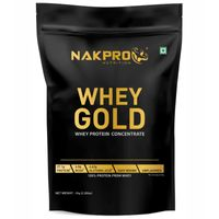 NAKPRO Gold 100% Whey Protein Concentrate Supplement Powder - Unflavoured