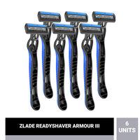 ZLADE Armour III Readyshaver- Triple Blade Disposable Shaving Razor For Men - Pack Of 6