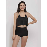 Cukoo Charcoal Two Piece Swimwear/Swim Suit with Removable Pads - Black
