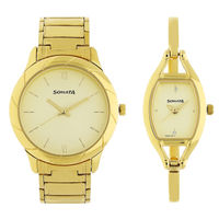 Sonata NM71258114YM01 Beige Dial Analog Watch For Couple
