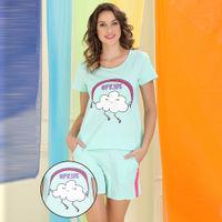 Clovia Cotton Rich Printed Top & Shorts Set - Blue