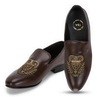 The Brat Army Bern Brown Hand Embroidered Ethnic Slip On