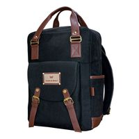 Smith & Blake Laptop Backpack Black Canvas with Leatherette Styling | Sky