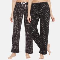 Clovia Cotton Pack of 2 Printed Pyjama Pants With Pocket-Black