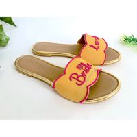 Sole House Embroidery Yellow Bride To Be Flats