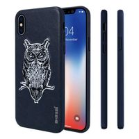 """Memumi Owl Series Real Embroidery Leather Back Cover for Apple iPhone X/10 PC + TPU - Blue (5.8"""")"""