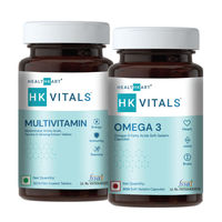 HealthKart Multivitamin Tablets + Omega 3 Fish Oil Supplement Capsules ,unflavoured (pack Of 2)