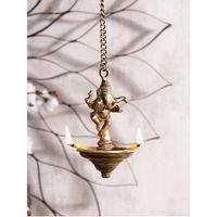 eCraftIndia Brass Dancing Ganesha Hanging 3 Oil Wick Diya