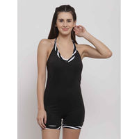 Cukoo Black Halter Neck Single Piece Swimwear/Swimsuit with Removable Pads - Black