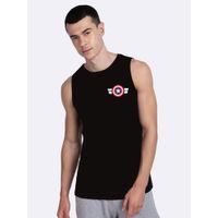 Bewakoof Striped Captain America Printed Badge Vest (AVL) - Black