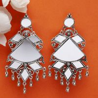 Moedbuille Handcrafted Hand Cut Mirror Afghan Design Brass Plated Antique Oxidised Earrings