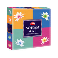 Hem Soham 4 In 1 Premium Cup Dhoop with 4 Different Fragrances - Pack of 2
