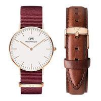 Daniel Wellington Classic Roselyn 36mm & 18mm St Mawes Strap Watch Gift Set