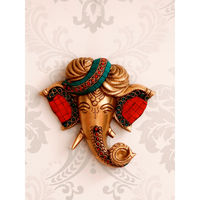 eCraftIndia Paghdi Lord Ganesha Brass Wall Hanging with Colorful Stone Work