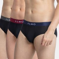 ALMO Men's Micromodal Brief With Contrast Waistband, Pack Of 3 - Multi-Color