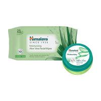 Himalaya Moisturising Aloe Vera Facial Wipes (25 Wipes)+moisturizing Aloe Vera Face Gel Combo