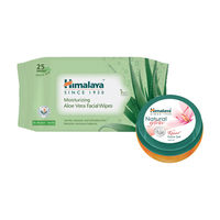 Himalaya Moisturising Aloe Vera Facial Wipes (25 Wipes)+natural Glow Kesar Face Gel Combo