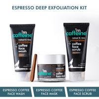 MCaffeine Espresso Coffee Deep Exfoliation Kit with Hyaluronic Acid, Walnut, Natural AHA