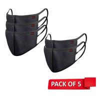 Nova NEXA Shield 1085 Premium Reusable Outdoor Protection Cloth Mask Free Size - Pack of 5 (Black)