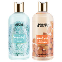 Nykaa Wanderlust Californian Almond Milk Shower Gel + Mediterranean Sea Salt Shower Gel Combo (Pack of 2)