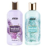 Nykaa Wanderlust Mediterranean Sea Salt Shower Gel + French Lavender Shower Gel Combo (Pack of 2)
