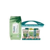 Himalaya Neem Facial Kit with Face Massager & Aloe Vera Facial Wipes Combo (25Pack)