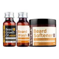 Ustraa Beard Growth Oil- Advanced, Beard Wash- Woody & Beard Softener