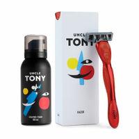 Uncle Tony Shaving Experience Kit (Razor + Foam) - Red