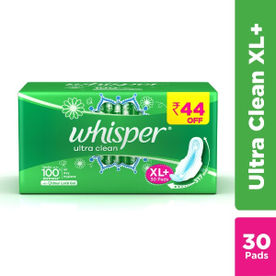8434ec26c1753f Whisper Ultra Clean Sanitary Pads - XL Plus (30 Pads) Rs. 44 off