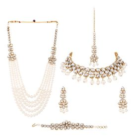 1994bfb102 Anika's Creation Elegant Pearl And Kundan Work Necklace Set .