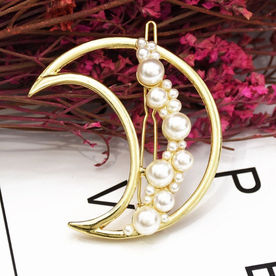 67d8ed3c7 Ferosh Cassia Pearl-Studded Crescent Gold Hair Pin