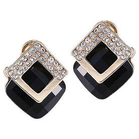 0796c008972bf3 Peora Gold Plated Shining Square Black Crystal Stud Earrings
