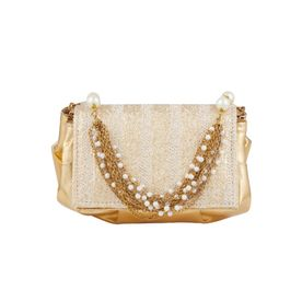 353a7ffa3c Tarusa Ivory Gold Synthetic Geometric Texture Clutch