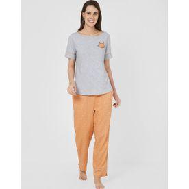 f27be6962b5 Mystere Paris Cute Cat Print T-Shirt Pyjama Set - Multi-Color