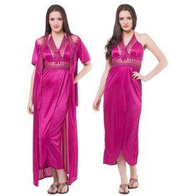 22439332489 Fasense Women Satin Nightwear 2 PCs Set Of Nighty   Wrap Gow.