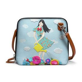 eb52089e54cb90 DailyObjects Girl In Flowerland - Trapeze Crossbody Bag