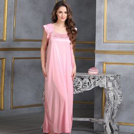 4ae3500012e Clovia Long Satin Nighty In Baby Pink (Free Size)