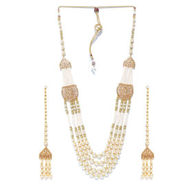048d35958 Jewels Galaxy Gold-Toned And Off-White Multistranded Beaded .