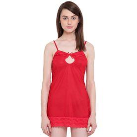 51c73a177fb7 N-Gal Spaghetti Strap Keyhole Neck Royal Red Bridal Babydoll Dress Nightwear  With G-