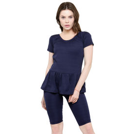 167a179bd41 N-Gal Frock Style Solid Blue Short Sleeve & Knee Shorts Swim.