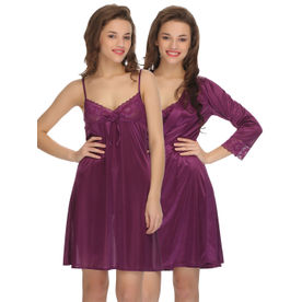 979a16131f6 Clovia 2 Pcs Set Of Nightslip And Robe - Purple