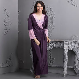 a9b1c1babe6 Clovia 7 Pc Satin Nightwear Set - Purple (Onesize)