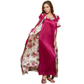 2aed4777706 Clovia 2 Pcs PrInted SatIn Nightwear In WIne - Robe   Nighti.