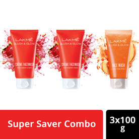Buy 2 Get 1 Free Lakme Blush & Glow Strawberry and Peach Facewash Combo (100gm