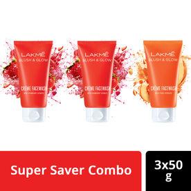 Buy 2 Get 1 Free Lakme Blush & Glow Strawberry and Peach Fac.